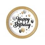 Talerzyki urodzinowe Happy Birthday baloniki i gwiazdki 23 cm - 8 szt.